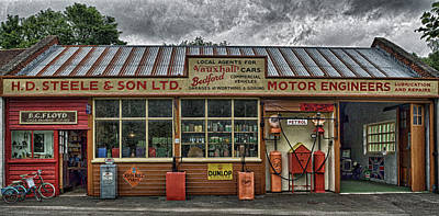 Old Village Garage. Art Print by Angela Aird