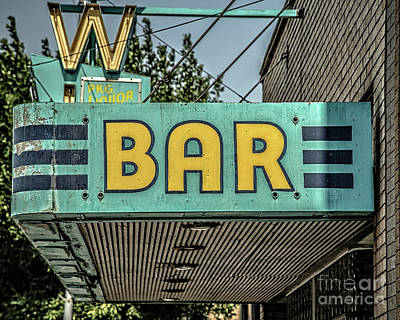 Photograph - Old Vintage Bar Neon Sign Livingston Montana by Edward Fielding
