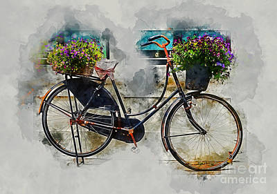 Mixed Media - Old Vintage Black Bike by Ian Mitchell
