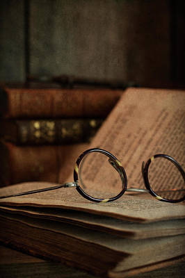Photograph - Old Vintage Books With Reading Glasses by Ethiriel Photography