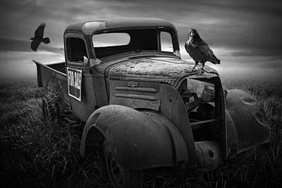 Old Vintage Chevy Pickup Truck With Ravens Art Print