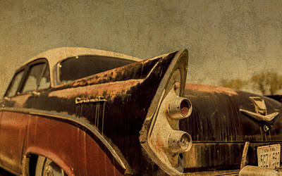 Coronet Mixed Media - Old Vintage Dodge Coronet Rear View Number 2 by Design Turnpike