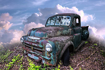 Photograph - Old Vintage Dodge Truck In Soft Summer Sunset Tones by Debra and Dave Vanderlaan
