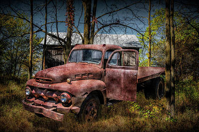 Photograph - Old Vintage Ford Truck by Randall Nyhof