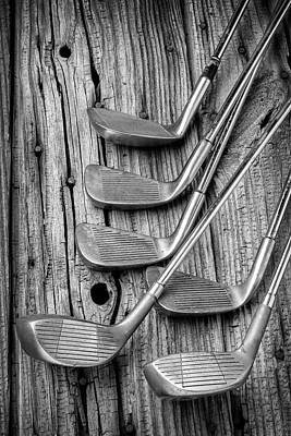 Knothole Photograph - Old Vintage Golf Clubs by Garry Gay