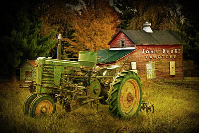 Photograph - Old Vintage John Deere Tractor With Retro Overlay by Randall Nyhof
