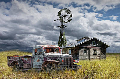 Photograph - Old Vintage Junk Dodge Pickup And Decaying Barn With Windmill by Randall Nyhof
