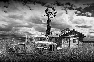 Photograph - Old Vintage Junk Dodge Pickup In Black And White With Decaying Barn by Randall Nyhof