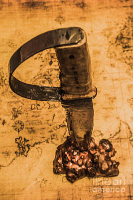 Photograph - Old Vintage Knife In Gold Nugget On Map by Jorgo Photography - Wall Art Gallery