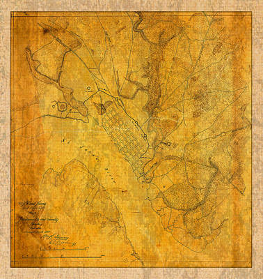 Old Mixed Media - Old Vintage Map Of Jacksonville Florida Circa 1864 Civil War On Worn Distressed Parchment by Design Turnpike