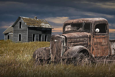 Digital Enhancement Photograph - Old Vintage Pickup By An Abandoned Farm House On The Prairie by Randall Nyhof