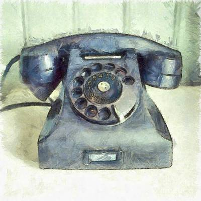 Photograph - Old Vintage Telephone Square Pencil by Edward Fielding
