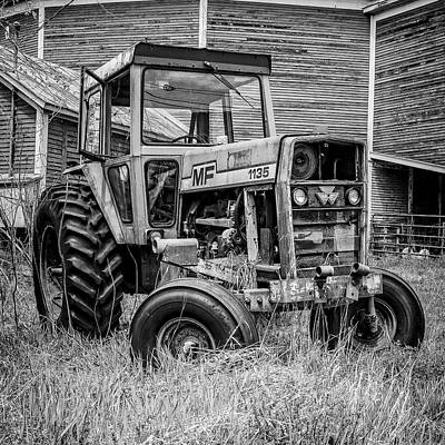 Classic Photograph - Old Vintage Tractor On A Farm In New Hampshire Square by Edward Fielding