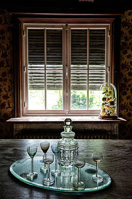 Table Wine Photograph - Old Vintage Wine  Whiskey Or Cognac Bottle by Dirk Ercken