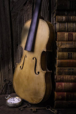 Photograph - Old Violin With Stack Of Worn Books by Garry Gay