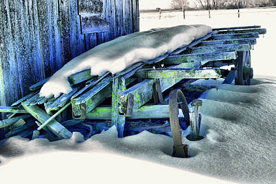 Old Wagan In The Snow Art Print by Jeff Swan