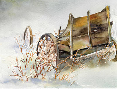 New England Snow Scene Painting - Old Wagon Abandoned In The Snow by Maureen Moore