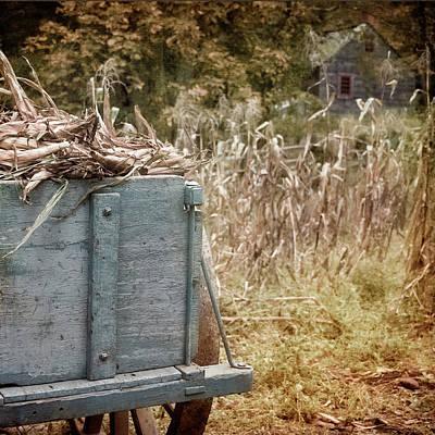 Photograph - Old Wagon On Farm - Farmhouse Art by Joann Vitali