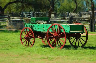 Wagon Wheels Mixed Media - Old Wagon On Lbj Ranch by Bill Willemsen