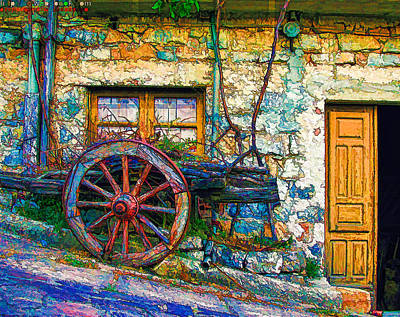 Old Wooden Wagon Painting - Old Wagon Wheel by Lanjee Chee