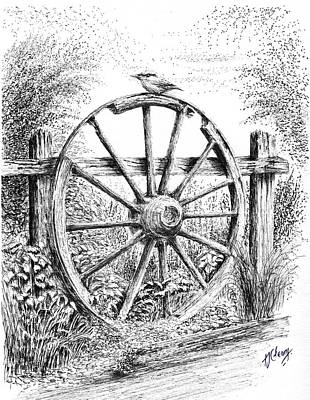 Wagon Wheels Drawing - Old Wagon Wheel by Terence John Cleary