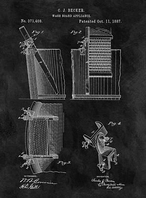 Old Washboards Drawing - Old Washboard Patent by Dan Sproul