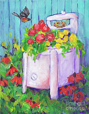 Painting - Old Washer Repurposed By Peggy Johnson by Peggy Johnson