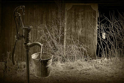 Photograph - Old Water Pump In Sepia Tone by Randall Nyhof