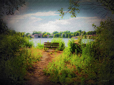 Photograph - Old Waterfront Bench - Paint Fx by Brian Wallace