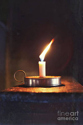 Old Wax Burning Candle Art Print by Amanda Elwell