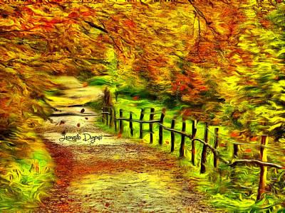Red Leaf Painting - Old Way - Da by Leonardo Digenio