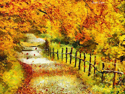 Fence Digital Art - Old Way In Fall - Da by Leonardo Digenio