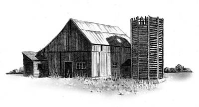 Old Barn Drawing - Old Weathered Barn And Wooden Silo by Joyce Geleynse