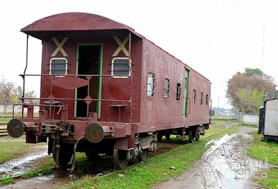 Photograph - Old Weathered Pakistan Railways Brake Van At Peshawar Junction Siding by Imran Ahmed