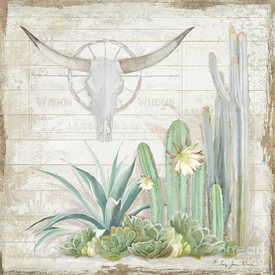 Wagon Wheels Painting - Old West Cactus Garden W Longhorn Cow Skull N Succulents Over Wood by Audrey Jeanne Roberts