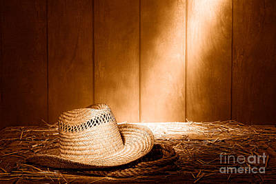 Aged Wood Photograph - Old West Farmer Hat - Sepia by Olivier Le Queinec