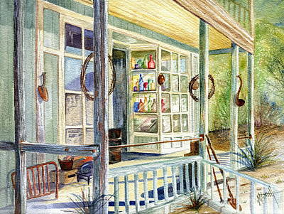 Shop Window Painting - Old West Junk Shop by Marilyn Smith
