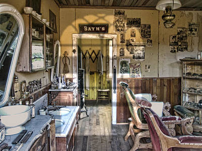 Old West Photograph - Old West Victorian Barber Shop Interior - Montana Territory by Daniel Hagerman