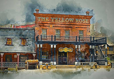 Old Door Mixed Media - Old Western Saloon Bar by Ian Mitchell