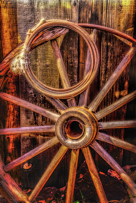 Old Wheel And Rope Art Print by Garry Gay