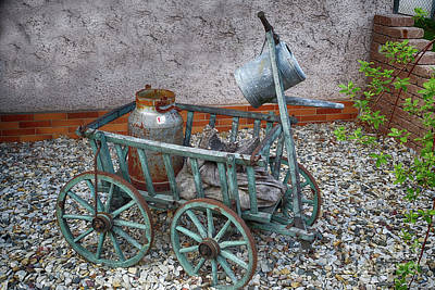 Photograph - Old Wheelbarrow With Milk Churn by Eva-Maria Di Bella