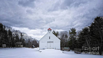 Photograph - Old White Barn In Winter by Edward Fielding