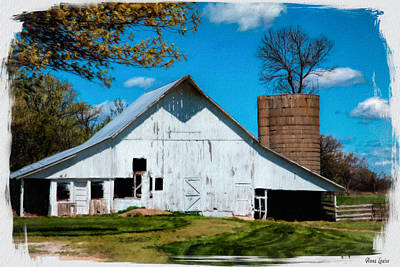 Digital Art - Old White Barn With Treed Silo by Anna Louise
