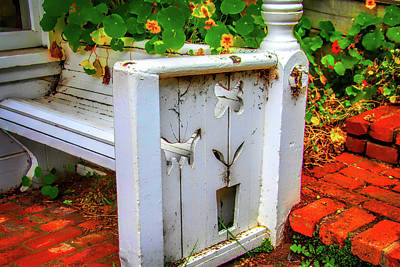 Photograph - Old White Bench by Garry Gay