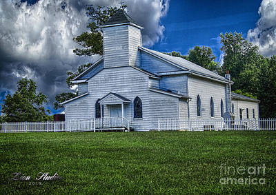 Digital Photograph - Old White Church Pamplin Va With Hdr Added by Melissa Messick