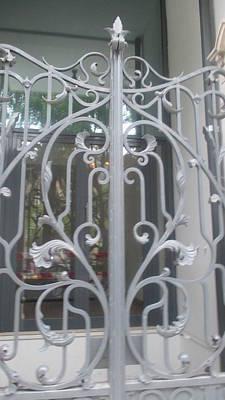 Detail Photograph - Old White Iron Gate In Lisbon by Anamarija Marinovic