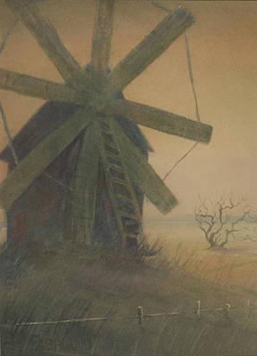 Art Print featuring the painting Old Windmill by Alla Parsons