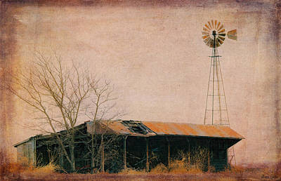 Old Windmill And Outbuilding Art Print by Anna Louise