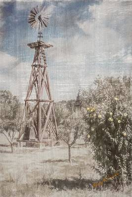 Digital Art - Old Windmill In Apple Orchard. by Rusty R Smith