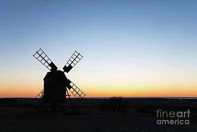 Photograph - Old Windmill Silhouette by Kennerth and Birgitta Kullman